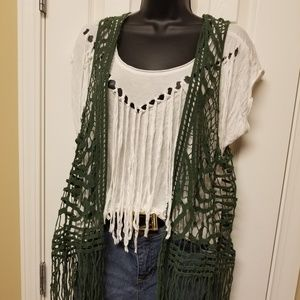 Green crochet vest